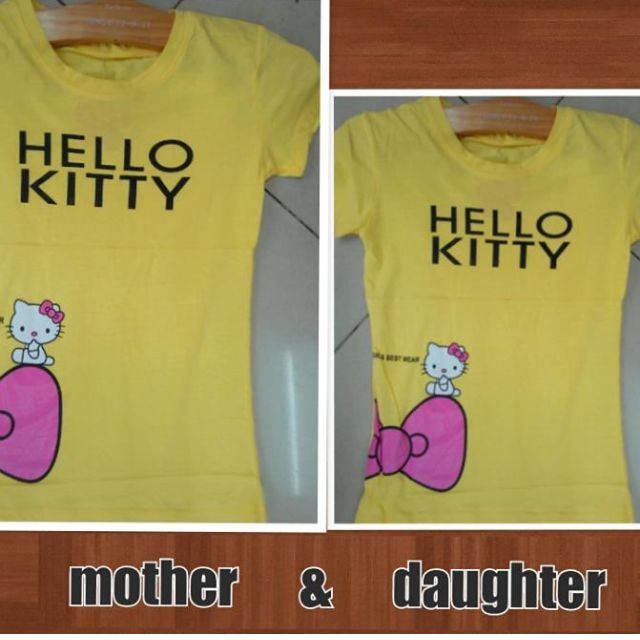 hello kitty tshirt 2pcs. or mother and daughter-php465 only-fit to sizes from small to large-100% cotton and stretchable-free shipping/delivery-for order contact me at 09169361476-for more items visit our facebook at bersel entrprises