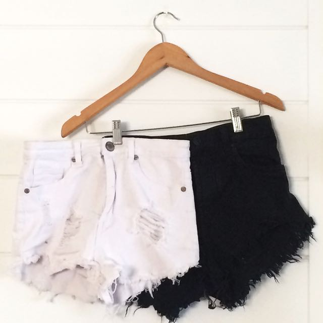 High Waisted Shorts In Black and White