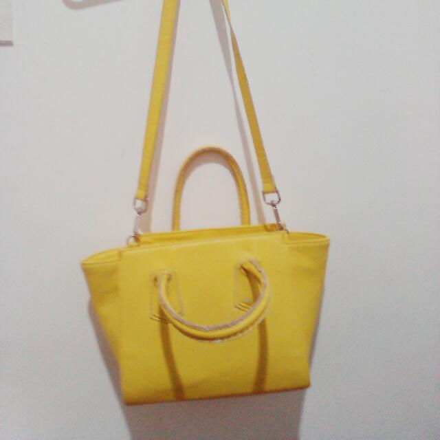 H&M Yellow Sling/Shoulder Bag w/ Paperbag
