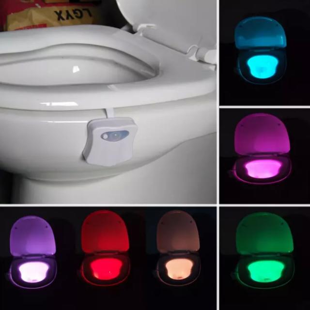 HOT  幻彩8色  馬桶側掛式感應LED燈♥