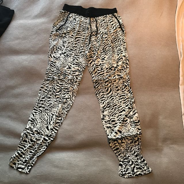 Jag Elastic Waist Full Length Pant Size 8 New Pockets Zebra