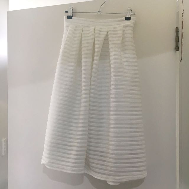 Misguided White Midi Skirt