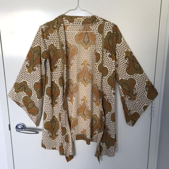Moroccan look satin cardigan