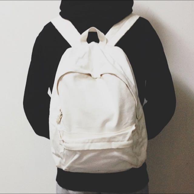 無印良品MUJI 棉麻拉鍊口袋後背包/原色