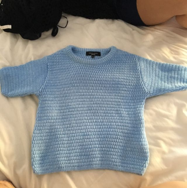 New Look Blue Cropped Knit