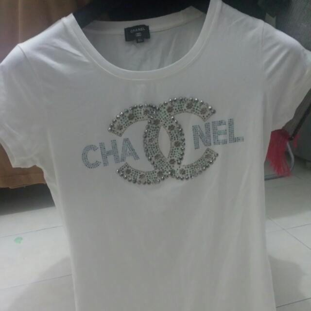 Non Authentic Chanel T Shirt Women S Fashion Clothes Tops On Carou