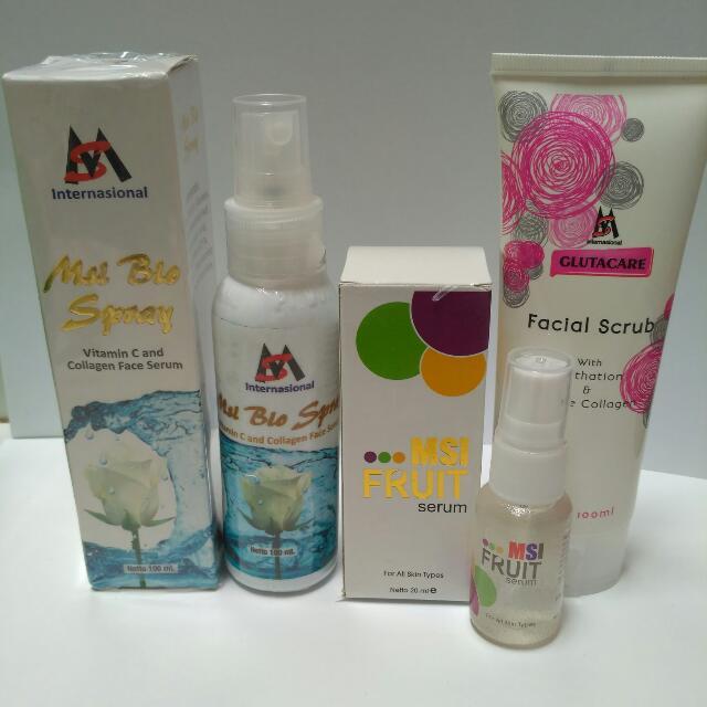Paket MSI Biospray Collagen + MSI Glutathione Facial Scrub + MSI Fruit Serum