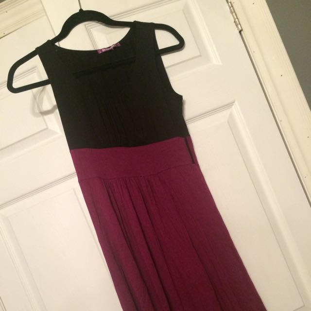 Pink And Black Sleeveless Dress