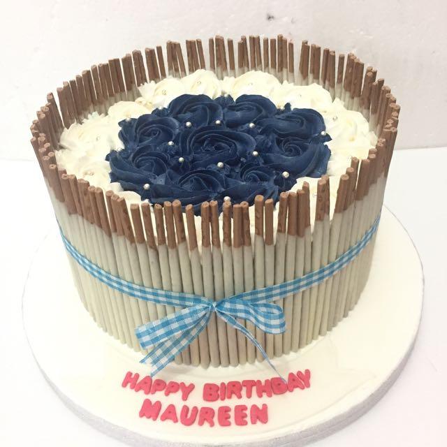 Pocky Rose Blue Cake