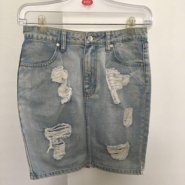 Ripped High Waisted Denim Skirt