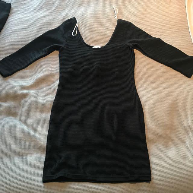 Sass Bodycon Dress Long Sleeve Size 10 New Black