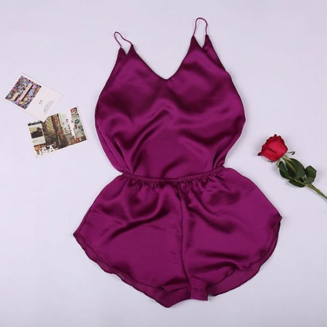 Satin silk lingerie two piece set 👑