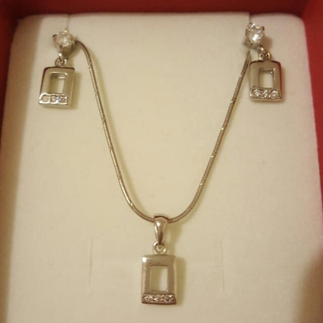 Silver Earrings And Pendant Set