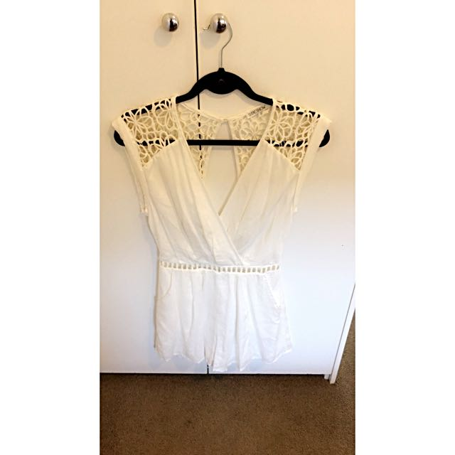 Size 8 Slide Show, White Crochet Detail Playsuit