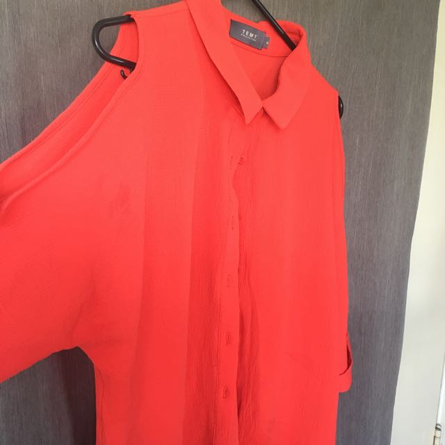 Tempt Tangerine Arm-Split Shirt