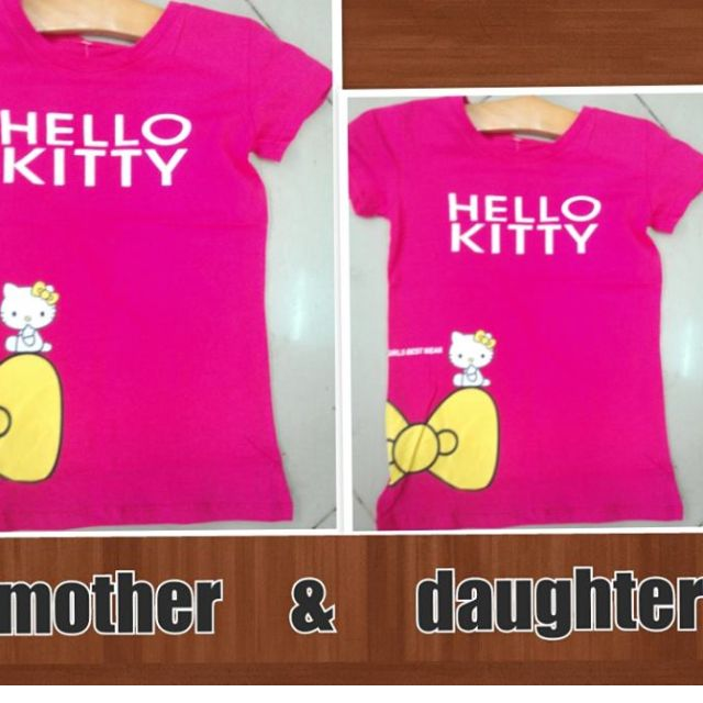 Tshirt hello kitty 100% cotton  -2pcs. or mother and daughter php 465 only fit to sizes from small-large and strechable-free shipping/delivery