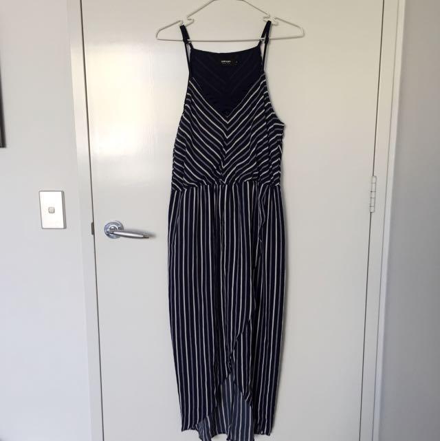 Valleygirl Navy white stripe dress