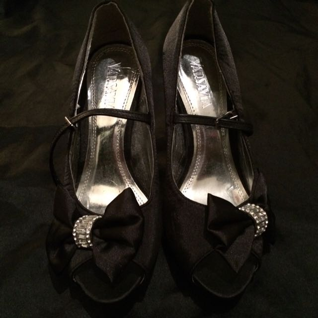 "Varsavia Black Satin Peep Toe 4"" Heels with Diamanté Bow and Matte Back Straps, Size 5"