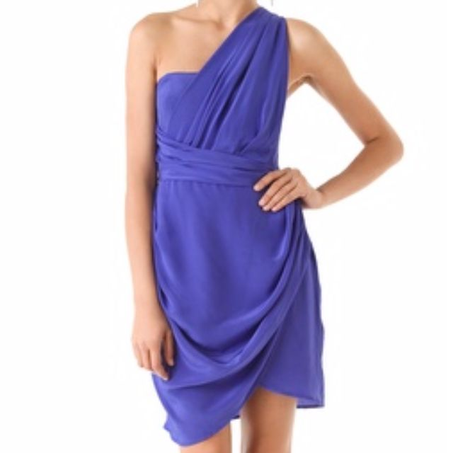 Zimmermann One Shoulder Dress, Blue/Purple, Size 0