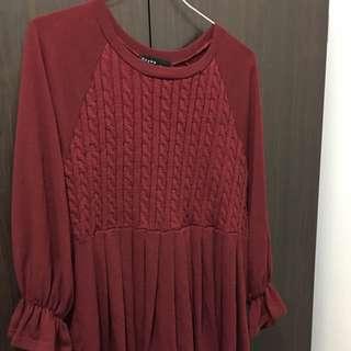 QQBOW 酒紅色洋裝