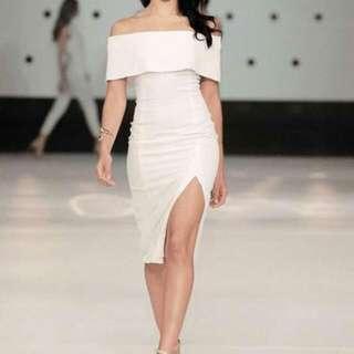 Tatting Cotton Off Shoulder Side Slit Dress