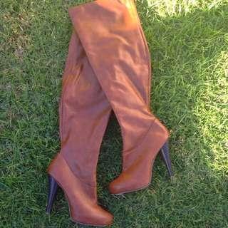 Knee High Boots Tan Colour
