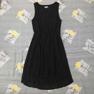 Black High Low V Neck Dress with Lace Detailing on the inside