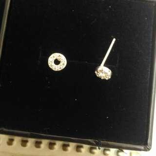 925純銀 圓形鋯石耳環