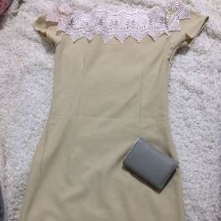 Nude Off shoulder  Lacey Dress 👗