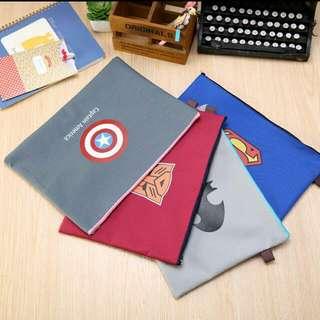 Superhero Stationery Zipper Bag  Can Fit A4 Captain America Superman Transformers