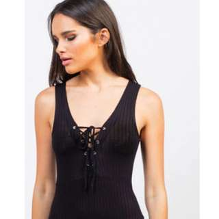 NWT Lace Up Bodysuit By Iris Los Angeles