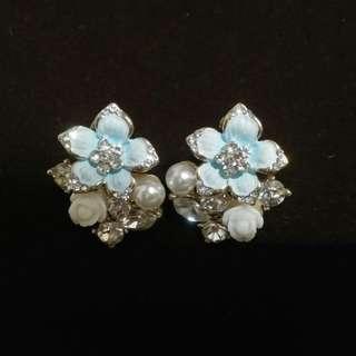 韓版藍色花朵水鑽耳環 #轉轉來交換