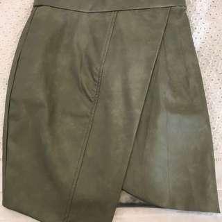 Sheike Asymmetrical Leather Skirt