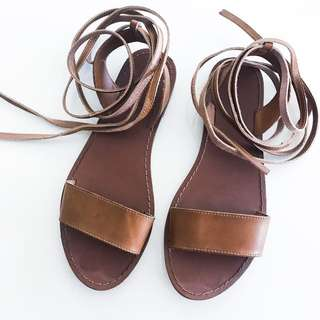 Brown Sandals- Tie Up, Size 6