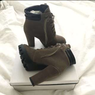Taupe High Heel Boots