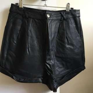Minkpink Black PU Shorts, Size M