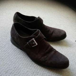 Dark Brown Suede Shoes Size 11.5