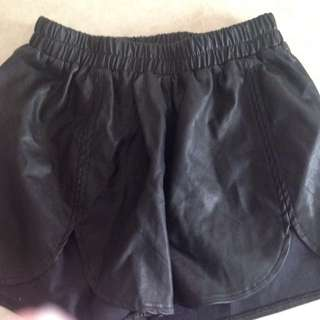 Black Leather Look shorts