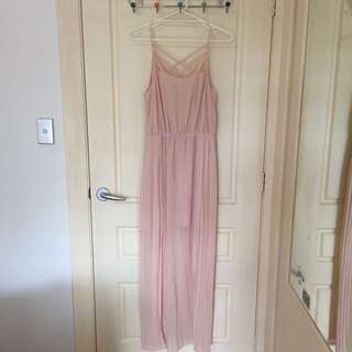 Pastel Pink Full Length Dress With Back Detail, Pleating And 2 Leg Splits