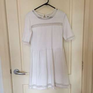 White Skater Dress With Mesh Like Details