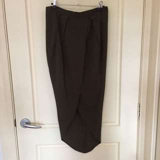 Pilgrim Khaki High-Low Pencil Skirt