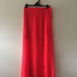 Divided (H&M) Sheer Maxi Skirt; Double slit