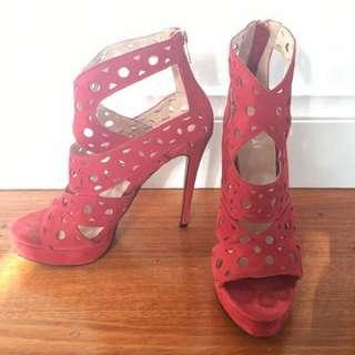 Red Kookai patterned heels