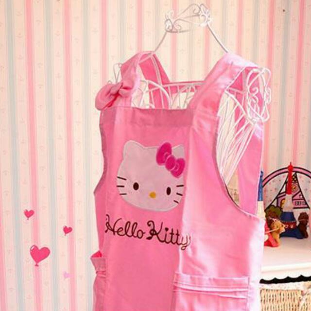 kitty圍裙 圍裙 粉紅色圍裙 可愛圍裙 廚房用品 三麗鷗圍裙 凱蒂貓圍裙