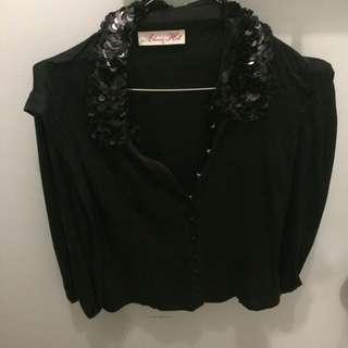 Alannah Hill Sequin Collar Black Silk Blouse