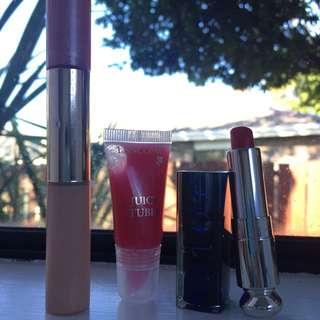Estée Lauder Two In One Concealer & Lipgloss / Dior Lipstick / Lancôme Juicy Tubes