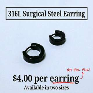 316L Surgical Steel Black Earring