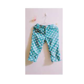 【童趣褲子】童趣牛奶淺藍圓點七分褲