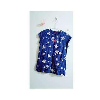 【星星上衣】星星塗鴉短袖深藍上衣