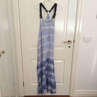 Angel Biba Blue/White Maxi Dress Size 8